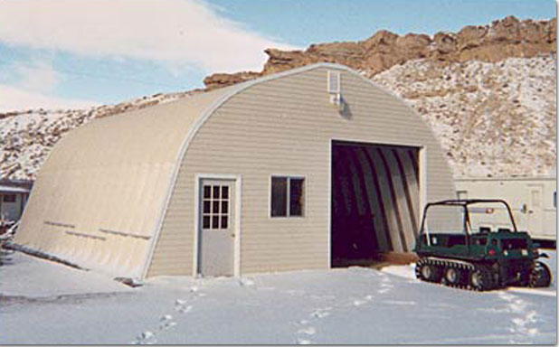 A Model Quonset Style Building In Snow
